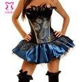 Lujo negro y azul de raso con lentejuelas plumas de pavo real Sexy corsé gótico Overbust Corpetes E Espartilhos Steampunk ropa