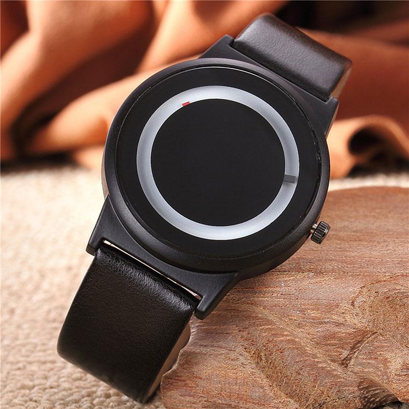 Harajuku Style Clock Candy Color Couples Watch PU Leather Strap Quartz Wrist Watches For Unisex Women Men   LXH