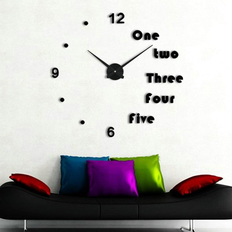 9a079de5d5837f 3D grande taille horloge murale miroir autocollant DIY bref séjour horloges  reloj de pared montre 3d diy Acrylique miroir Autocollants