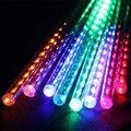 Alta Calidad 30 cm LED Lluvia de Meteoros de Luz LED Luces de Navidad Al Aire Libre Para La Decoración de La Boda 144 led 8 Tubos 85-220 V de LA UE y EE.UU. Plug