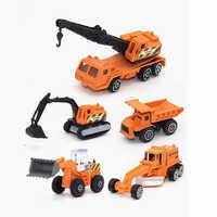5pcs/set metal car model diecast 1:64 truck Forklift car toy set diecast vehicles car toys for children 1/64 garage toy yellow