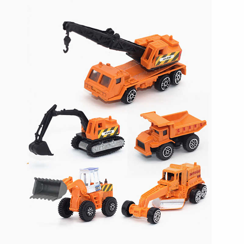 5pcs/set metal car model diecast 1:64 truck Forklift car toy set diecast vehicles car toys for children 1/64 garage toy yellow
