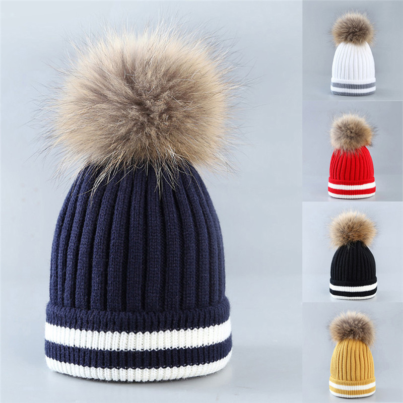 New Style Women Female Knitting Hat Cap Winter Warm Hat Hair Ball Stripe Knitted Hat Women Hat Beanies Cap For Women Wolovey#20 4pcs new for ball uff bes m18mg noc80b s04g