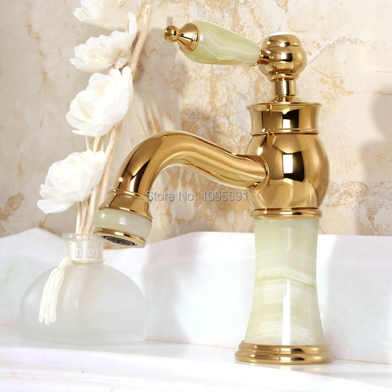 luxury gold plated solid brass amp jade faucet 12987