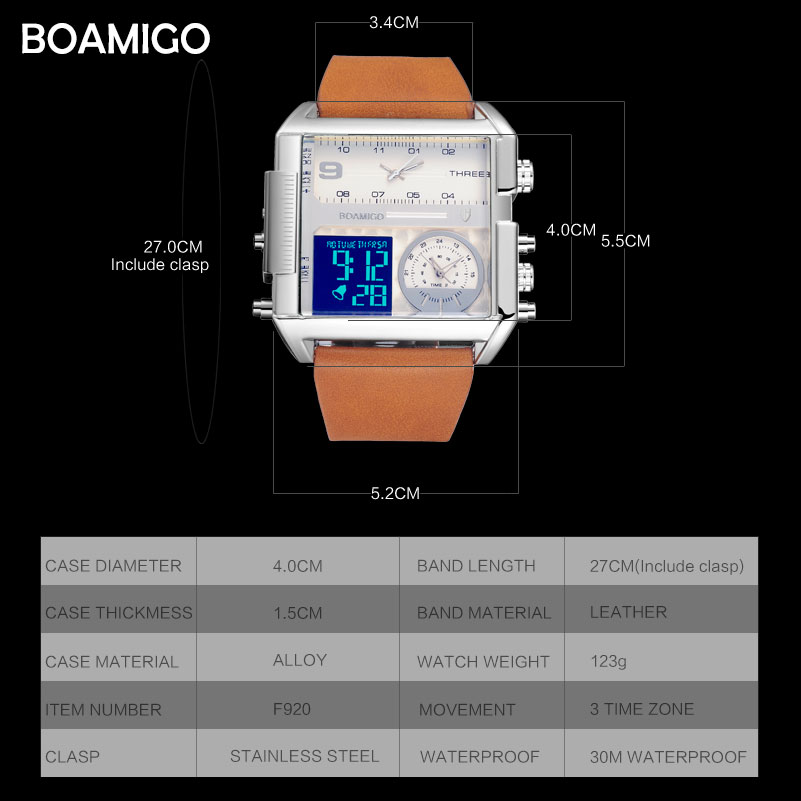 Image 5 - Dropshipping BOAMIGO brand men 3 time zone watch man sport digital watches brown leather military quartz watch relogio masculino-in Quartz Watches from Watches