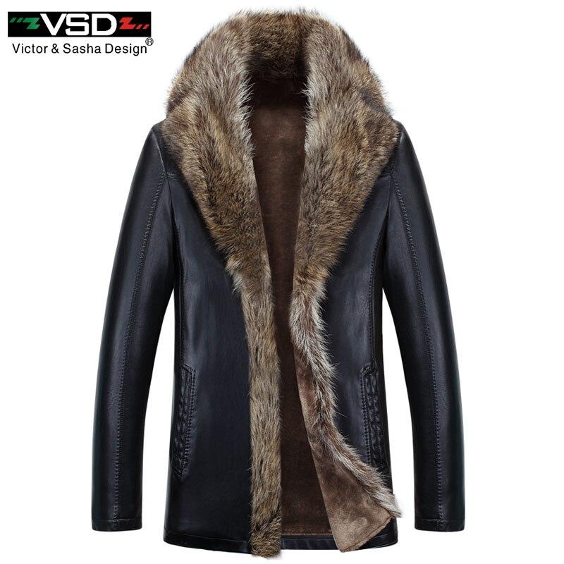 VSD 2018 Hiver Faux En Cuir Hommes Veste En Cuir de Loisirs D'affaires hommes Chaud Épais Manteaux Style Long En Cuir Vestes Et Manteau V1080