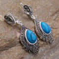 whosale Fine round turquoise bead silver hook earrings Vintage style 5.29