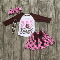 Football Clothes Tutus Touch Downs Fall Baby Girls Boutique Skirt Ruffle Hot Pink Long Sleeves Bow