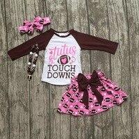 Calcio vestiti tutu touch downs Caduta neonate boutique pannello esterno dell'increspatura hot pink maniche lunghe bow cuore di corrispondenza con accessorio
