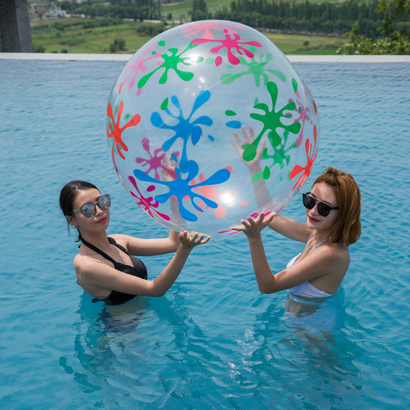 85 სმ სიგრძის გასაბერი გამჭვირვალე Beach Ball გარე სპორტის ბურთი Splash თამაში Swim Pool Water Toys PVC სავენტილაციო ბურთები ბავშვებისთვის გასაბერი სათამაშო