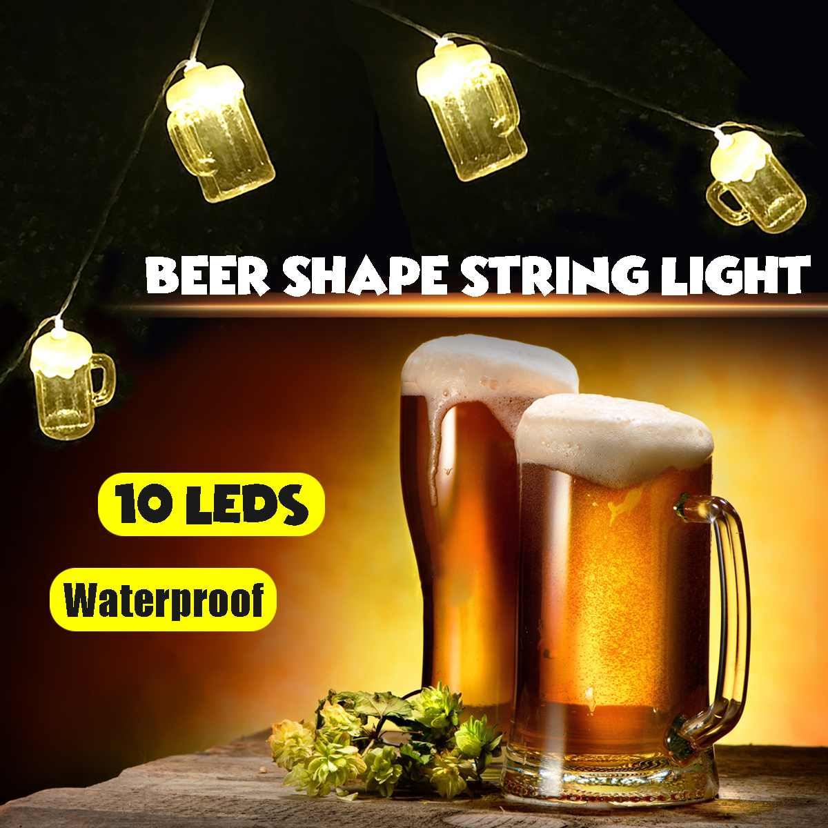 10 LED Bulbs Beer-Festival String Light Fairy Hanging Lamp Party Plastic Decor Outdoor High Temperature Resistant Waterproof