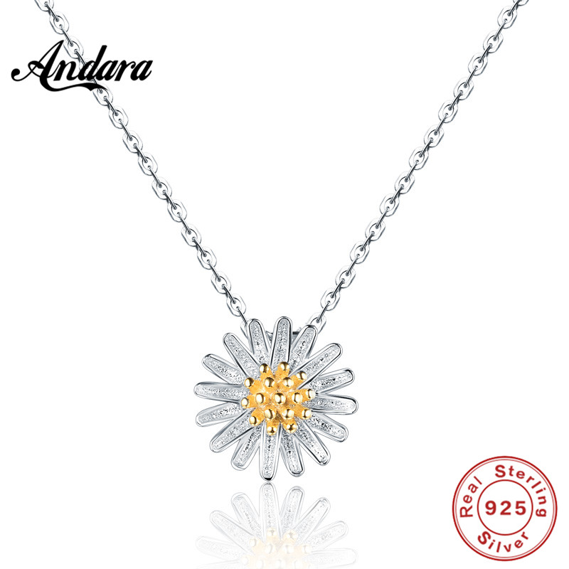 <font><b>ANDARA</b></font> Charms 925 Sterling Silver In Jewelry Necklace Chrysanthemum Pendant For Women Collane Jewellery image
