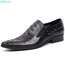 Brand 100% Genuine Leather Formal Shoes Man Oxfords Handmade Designers Crocodile Pattern Slip On Mens Dress Shoes brand crocodile pattern shoes oxfords 100