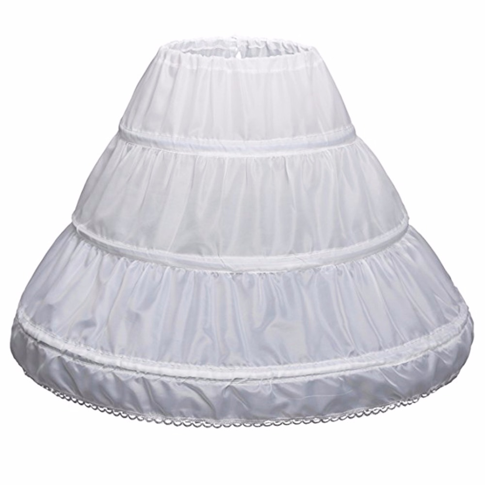 White Children Petticoat 3 Hoops One Layer Kids Crinoline Lace Trim   Flower     Girl     Dress   Underskirt Elastic Waist Drawstring