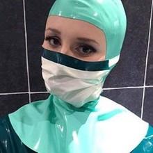 Латекс медсестры доктор хирургии костюм вешалки капот фетиш в том числе дыхательная маска бандаж кляп с задней молнией