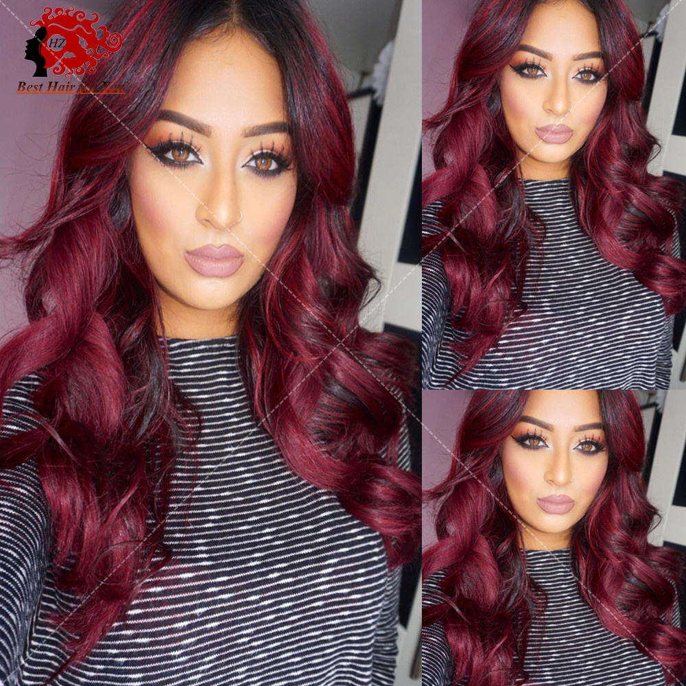 1b 99j Ombre Human Hair Wig Burgundy Two Tone 1B 99J Red