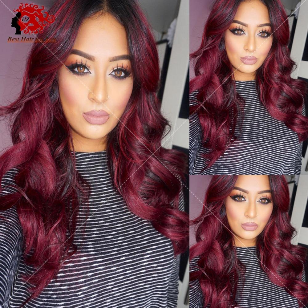 1b 99j Ombre Human Hair Wig Burgundy Two Tone 1B 99J Red