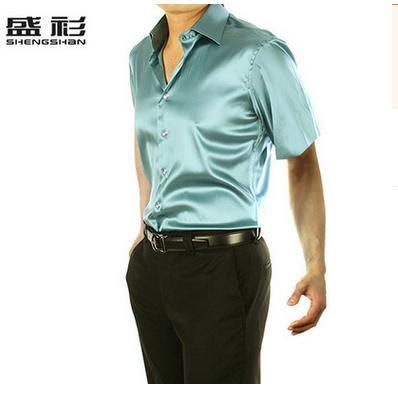Новое поступление, летняя стильная шелковая Повседневная однотонная мужская рубашка с коротким рукавом, трендовая модная повседневная рубашка из искусственного шелка - Цвет: light green