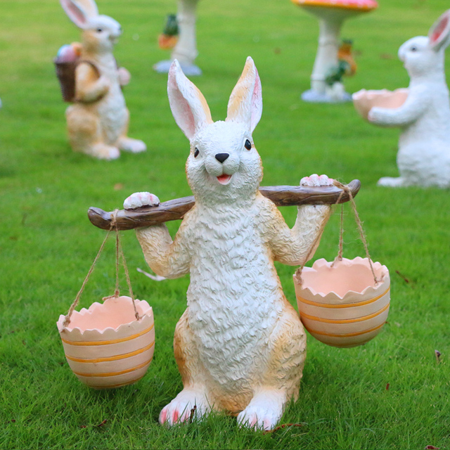 Incroyable Simulation Animal Rabbit Sculpture Garden Ornaments Resin Crafts Outdoor  Patio Lawn