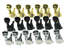 KAISH 6 Inline 6R Sealed Skull Button Guitar Tuners Tuning Keys Pegs Machine Heads for Strat Tele Guitars 3 Colors