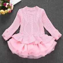 Eugen yarn sweater Dress pullover  knitted sweater Cotton Casual Girl Clothes O-Neck Solid Long Sleeve Costume For Children S067