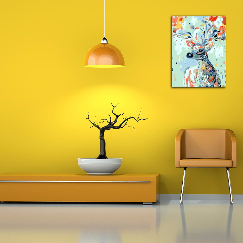 Colorful Deer DIY Oil Painting By Numbers Acrylic Drawing On Canvas ...