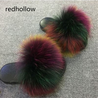 26 colors Fox Hair Slippers Women Fur Home Fluffy Sliders Plush Furry Summer Flats Sweet Ladies Shoes Size 45 Cute Pantufas