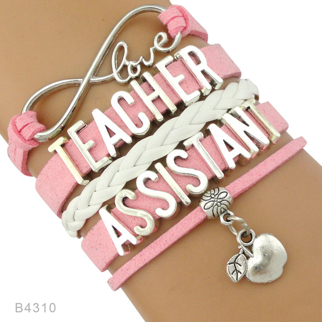 Infinity Love Science Preschool Special Needs Teacher Istant Educator Jewelry Leather Bracelets For
