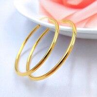 Partei Schmuck Creolen Trendy Gelb Gold Gefüllt 40mm Durchmesser Großen Runden Kreis Weibliche Ohrringe Hochzeit Zubehör