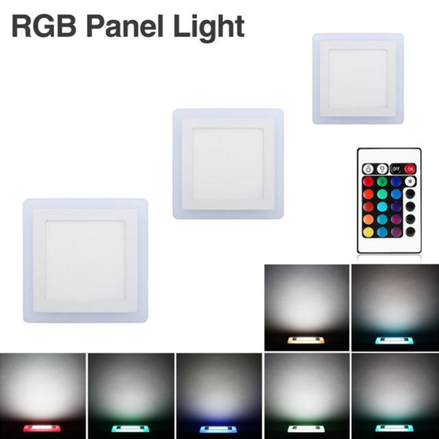 Led Panel Light New 6W 9W 18W 24W Concealed Dual Color LED Panel Lamp Cool White + Blue/Red/Pink/RGB Lamp Downlight AC100-265V