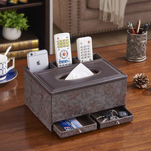 Fashion multifunctional PU leather tissue box remote control storage box living room coffee table napkin pumping paper box multifunctional tissue pumping box pu leather box living room coffee table desktop remote control storage box