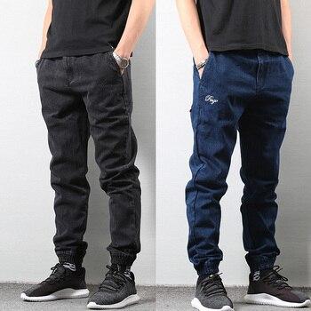 Japanese Style Fashion Men's Jogger Jeans Black Blue Color Streetwear Punk Pants Hip Hop Jeans Men Slim Fit Cargo Pants Homme 1