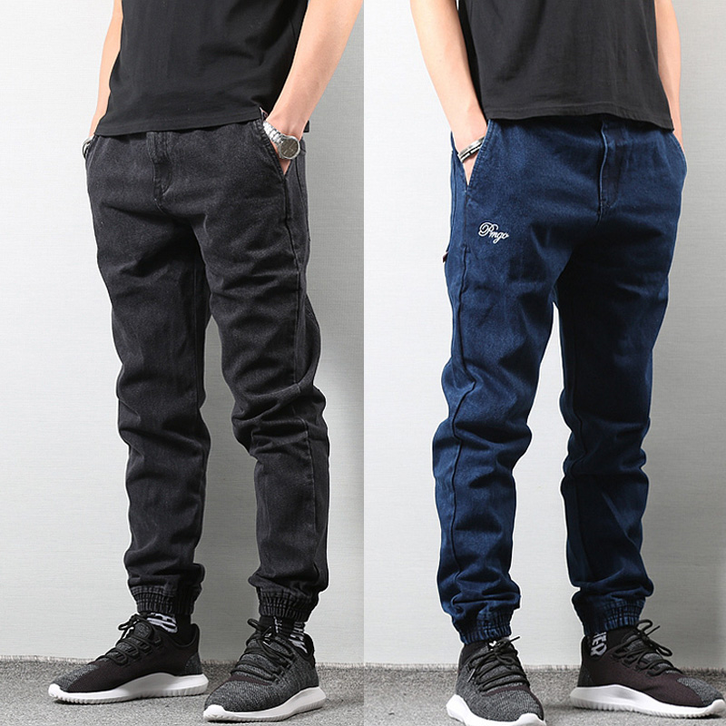Japanese Style Fashion Mens Jogger Jeans Black Blue Color Streetwear Punk Pants Hip Hop Jeans Men Slim Fit Cargo Pants Homme