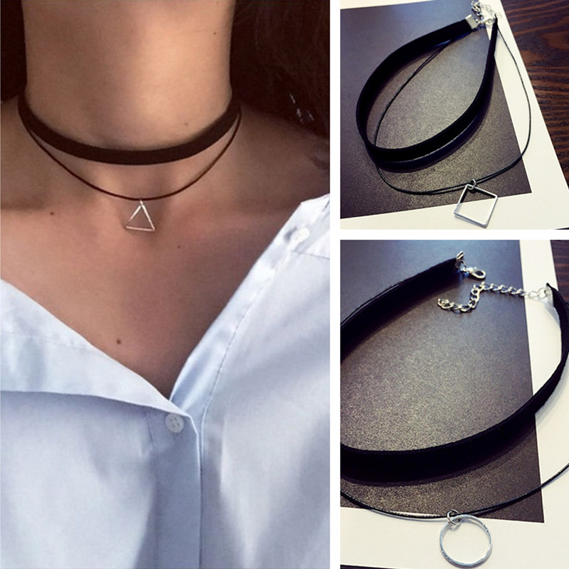 Gothic Lolita Punk Triangle Choker Necklace Black Velvet Steampunk Tattoo Necklaces Torques Jewellery Clavicle Colar Bijoux HOT
