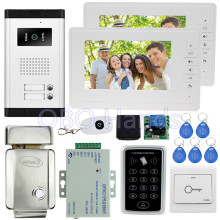 "7"" wired color video door phone intercom system kit set with 1 camera+2 monitors+access control keypad+EM lock for 2 families"