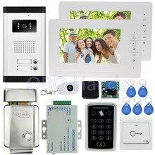 """7 """"ató con alambre el teléfono video de la puerta sistema de intercomunicación kit set con 1 cámara de 2 monitores + control de acceso teclado + cerradura del EM de 2 familias"""