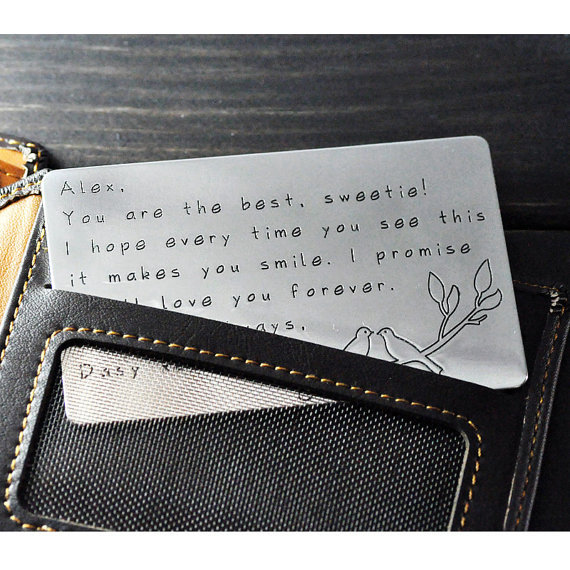 valentines day card Alloy Wallet Insert Card any words hand stamped - valentines cards words