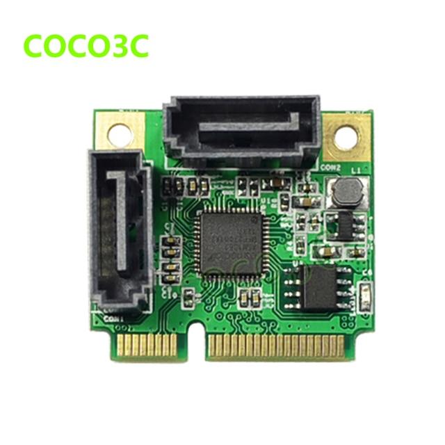 Мини PCIe до 2 порта SATA III 6 Гбит/с карты для ITX двойной SATA 3.0 Mini PCI Express адаптер + половинного размера до полного размера кронштейн
