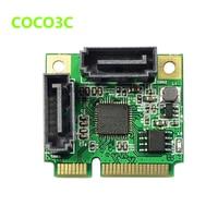 mini PCIe to 2 port SATA III 6Gbps card for ITX Dual SATA 3.0 mini PCI Express adapter + Half-size to Full-size bracket