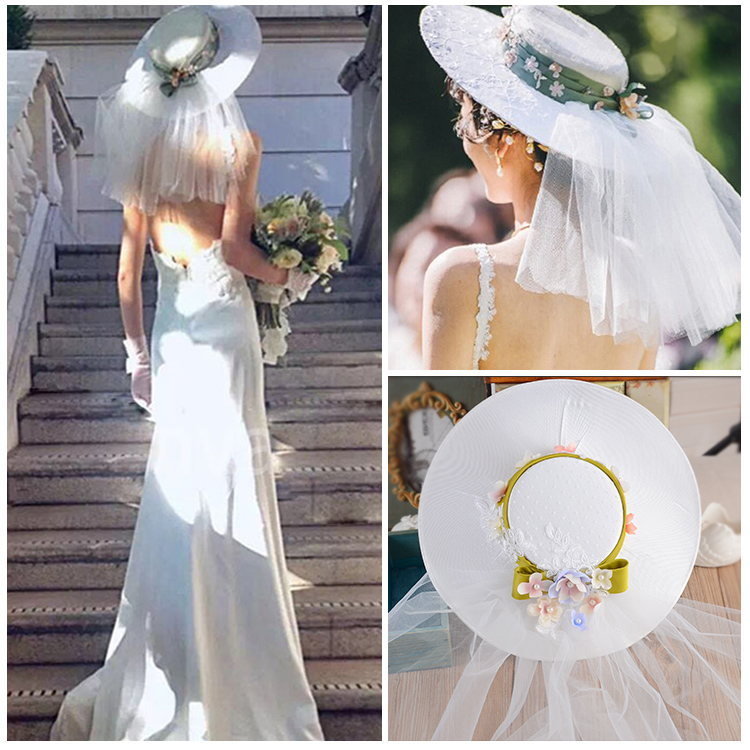 2016 New Bridal Hats Handmade Gauze Lace Flower Vintage Elegant Hair Headdress Wedding Hat Bride veil Wedding Accessories