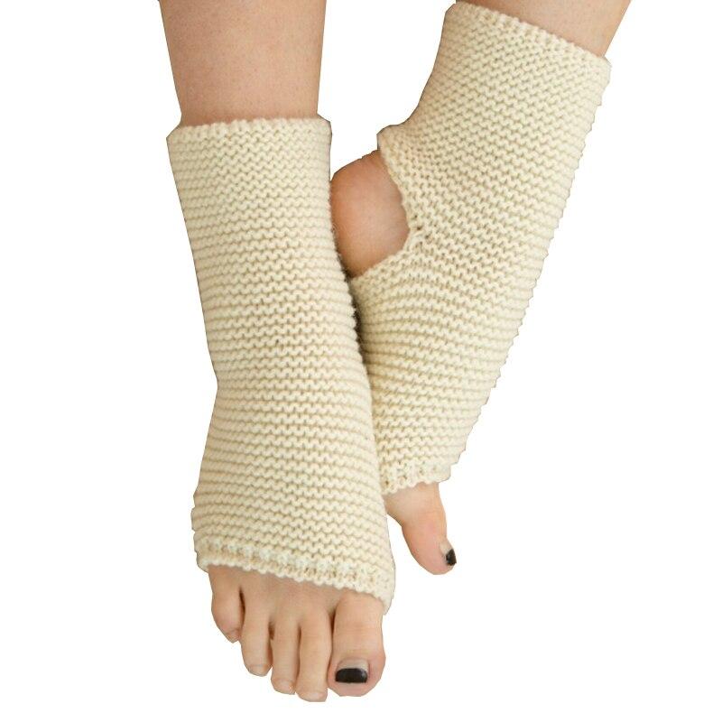Yoga 1 Pair Professional Anti-friction Women Yoga Socks Autumn Winter Acrylic Crochet Leg Warmers Breathable Anti-friction Cuffs Boot