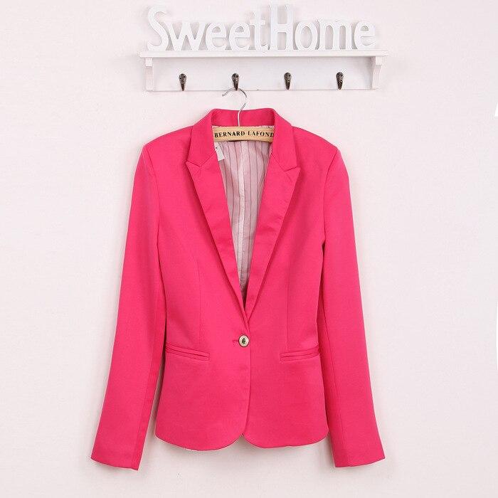Printemps femmes Blazer marque veste en coton de base vestes couleur bonbon à manches longues Slim costume Blazer femme petit costume WWT7574