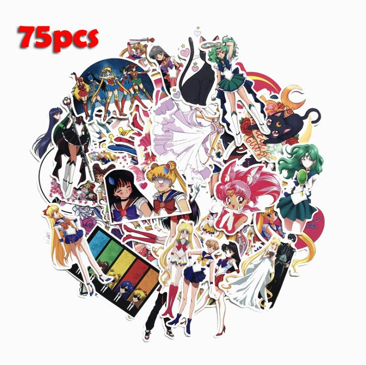 75PCS Japanese Cartoon Anime Sailor Moon Suitcase Sticker Cute Water Ice Moon Trolley Case Computer Scooter Decoration Sticker