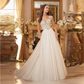 2017 New White Tulle Beaded Sequined A-Line Wedding Dress Bridal Gown Robe De Mariage casamento wedding gowns vestido de noiva