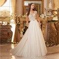 2017 Nova Tule Branco Frisado Lantejoulas A-Line Vestido de Noiva vestido de Noiva Robe De Mariage vestidos de casamento vestidos de casamento vestido de noiva