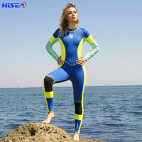 Hisea 3mm neoprene wetsuit Woman one piece High Elastic Surfing diving suit Bright color splicing classic long sleeved Swimsuit