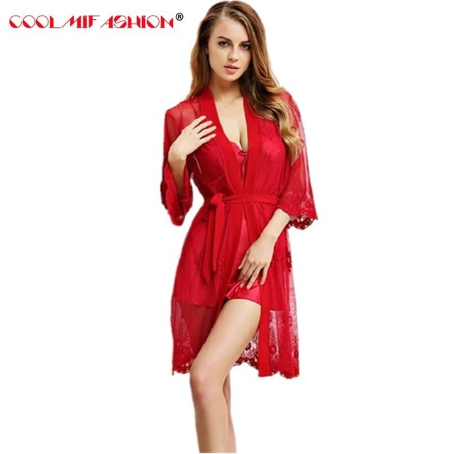 Women Sexy Silk Like Lace decoration Robe Grenadine Embroidered Nightgowns  2pieces Sleepwear sets Padded Nightdress female Dress 2a1050c55