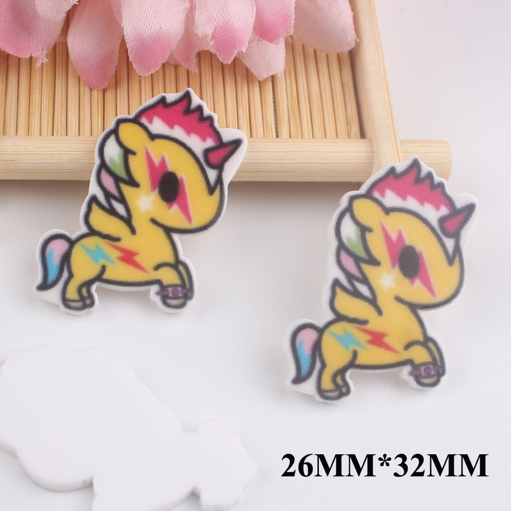 50pcs/lot 26*32MM Kawaii Cartoon Unicorn Flat Back Resins For Hair Bow Accessories Horse Planar Resin DIY Craft Decoration FR054