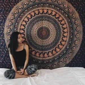 Image 3 - Tapiz de Mandala indio para colgar en la pared, alfombra de playa de arena, manta, tienda de campaña, colchón de viaje, almohadillas bohemias para dormir, tapices
