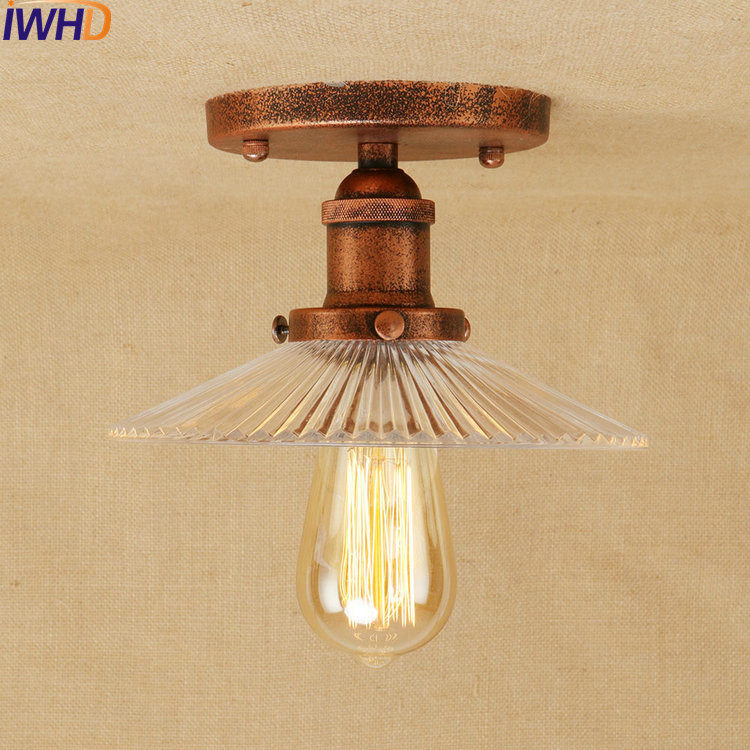 Glass Iron Industrial Vintage Ceiling Lights RH Retro Loft Ceiling Lamp Fixtures Home Lighting Lamparas De Techo Avize Luminaire цена